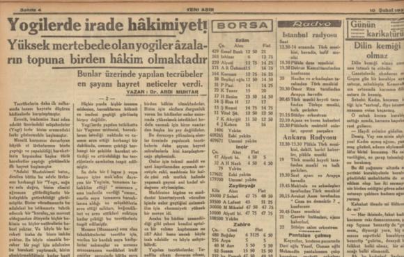 1937 Yılında Türkiye Basını ve Yoga ile İlgili Bir Makale     (Bora Ercan)